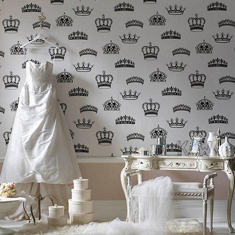 Graham & Brown - Black/white Crowns & Coronets wallpaper