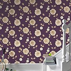 Fresco - Purple & Cream Charlotte Floral Wallpaper