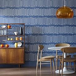 Hemmingway Designs - Blue Loopy Lines Wallpaper