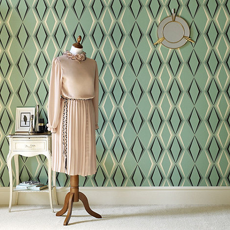 Hemmingway Designs - Green Deco Diamond Wallpaper