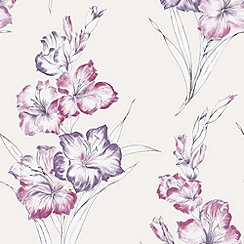 Graham & Brown - Blue Iris Cream/PinkWallpaper