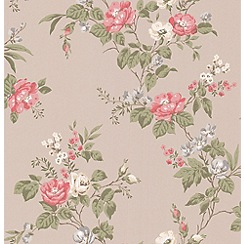 Graham & Brown - Raspberry Cottage Garden Wallpaper