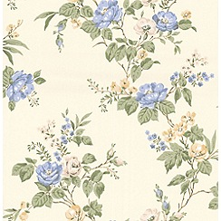 Graham & Brown - Blue Cottage Garden Wallpaper