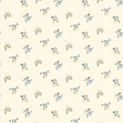 Graham & Brown - Buttermilk/Blue/Yellow Rosebud  Wallpaper