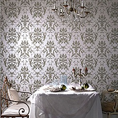 Graham & Brown - Cream Shimmer/Green Bewitched Wallpaper