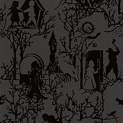 Graham & Brown - Midnight Fairytoile Flock Wallpaper