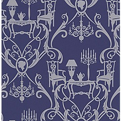 Laurence Llewelyn-Bowen - Blue/Silver Damasquerade Wallpaper