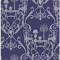 Laurence Llewelyn-Bowen - Blue/Silver Damasquerade Wallpaper