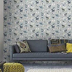 Fresco - Duck Egg Hand Drawn Graphic Butterflies Wallpaper