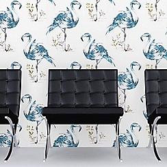 Fresco - Teal Flamingo Graphic Print Wallpaper