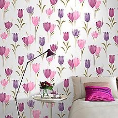 Fresco - Plum Tulip Floral Wallpaper
