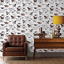 Fresco - Orange and Grey Butterflies Wallpaper