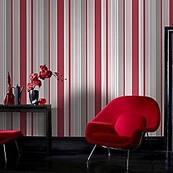 Fresco - Red Rico Stripe Wallpaper