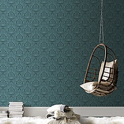 Graham & Brown - Turquoise Voyesy Wallpaper