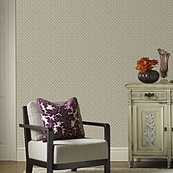 Graham & Brown - Taupe Trellis Wallpaper