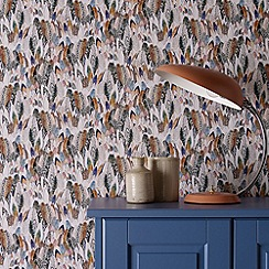 Graham & Brown - Multi coloured Feathers wallpaper