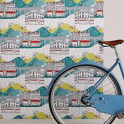 Graham & Brown - Multi coloured Tour de Yorkshire wallpaper