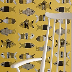 Graham & Brown - Mustard Fishes wallpaper