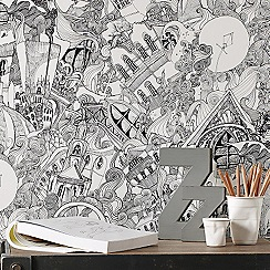 Graham & Brown - Black Lizzies Doodle wallpaper