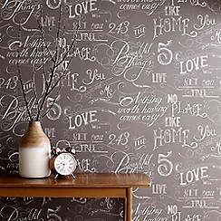 Fresco - Grey Chalk Board Handwritten Graphic Wallpaper