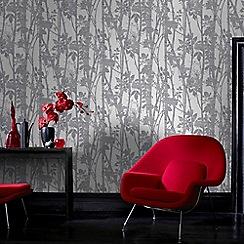 Fresco - Silver Branches on Fabric design Wallpaper