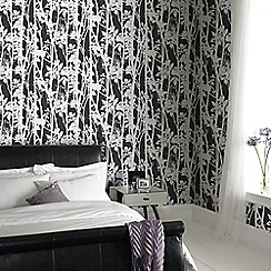 Fresco - Black Branches on Fabric design Wallpaper