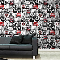 Fresco - Red & Black London Photographic Montage Wallpaper