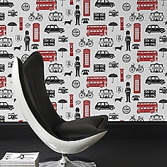 Fresco - Red London Inspired Graphic Wallpaper