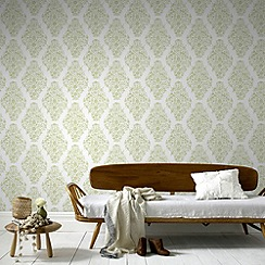 Laurence Llewelyn-Bowen - Soft Green Floribunda Wallpaper
