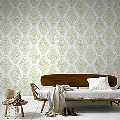Laurence Llewelyn-Bowen - Soft Green Floribunda Wallpaper