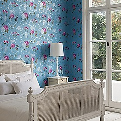 Graham & Brown - Blue Northern Rose Wallpaper