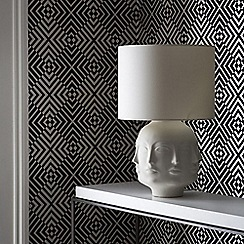 Barbara Hulanicki - Monochrome Flock The Hypnotist Geometric Wallpaper