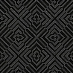 Barbara Hulanicki - Black Geometric Hypnotist Flock Wallpaper