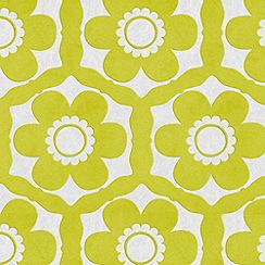 Barbara Hulanicki - Lime / Ice Funky Flora Wallpaper