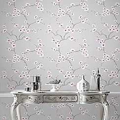 Fresco - Grey Apple Blossom Tree Wallpaper