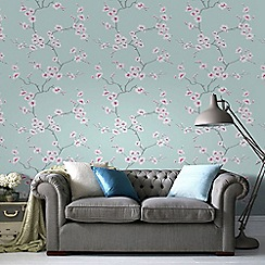 Fresco - Teal Apple Blossom Tree Wallpaper
