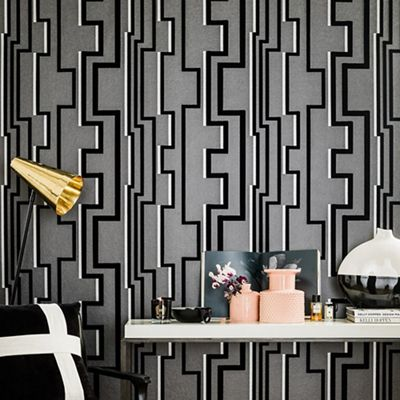Kelly Hoppen Black Noir Groove Geometric Wallpaper