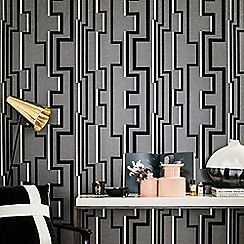 Kelly Hoppen - Black Noir Groove Geometric Wallpaper