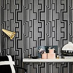Kelly Hoppen - Black Noir Groove Geometric Wallpaper