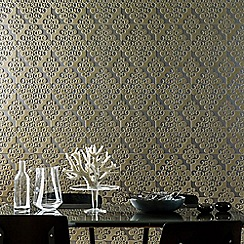 Kelly Hoppen - Taupe Flock Twist Damask Wallpaper