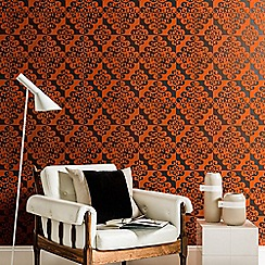 Kelly Hoppen - Orange Flock Twist Damask Wallpaper