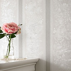 Superfresco - Silver Mist Floral Stripe wallpaper