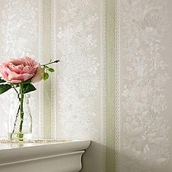 Superfresco - Green Shimmer Floral Stripe wallpaper