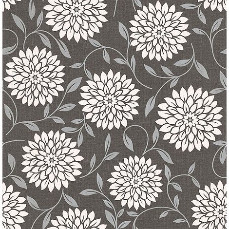 Graham & Brown - Charcoal Essence Flora wallpaper