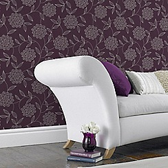Superfresco - Vision Plum Floral Print Wallpaper