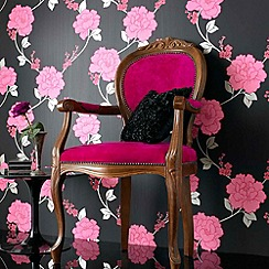 Laurence Llewelyn-Bowen - Black/fuschia Shantung wallpaper