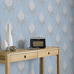 Superfresco - Hyacinth Blue Floral Retro Print Wallpaper