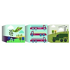 Graham & Brown Kids - Lemon Ribbon Transportation Set of 3 Canvas Blocks