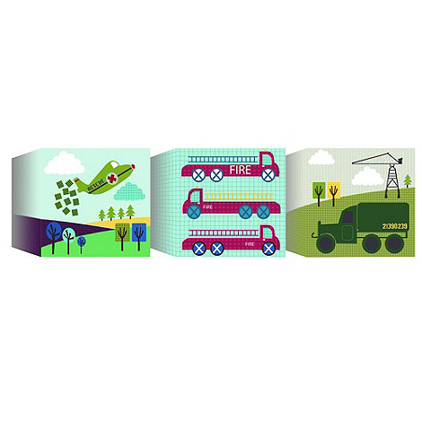 Graham & Brown Kids - Lemon Ribbon Transportation Set of 3 Canvas Blocks