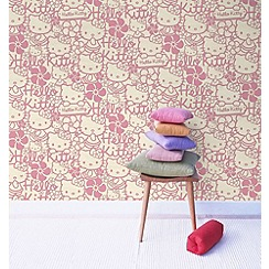 Hello Kitty - Pink Hello Kitty Flock Wallpaper